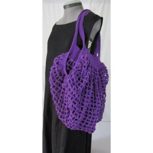 Dark Purple Crochet Cotton French Market Bag