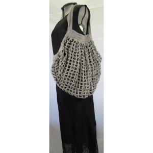 Grey crochet cotton french market bag