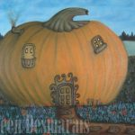 Oil Painting of a fairy pumpkin house by Aileen's Paintings