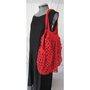 Red Crochet Cotton French Market Bag