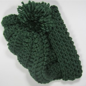 Green Slouchy Crochet Chunky Hat fold over view