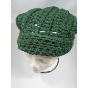 Green Slouchy Crochet Chunky Hat top front view