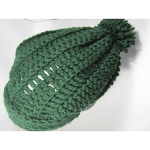 Green Slouchy Crochet Chunky Hat top view