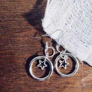 Star inside Hoop hanging earrings by Piercing Moon Creations