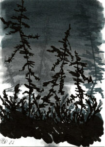 Monochrome marker drawing of a marsh with alcohol markers