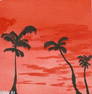 Watercolour art print of three palm trees with an orange background