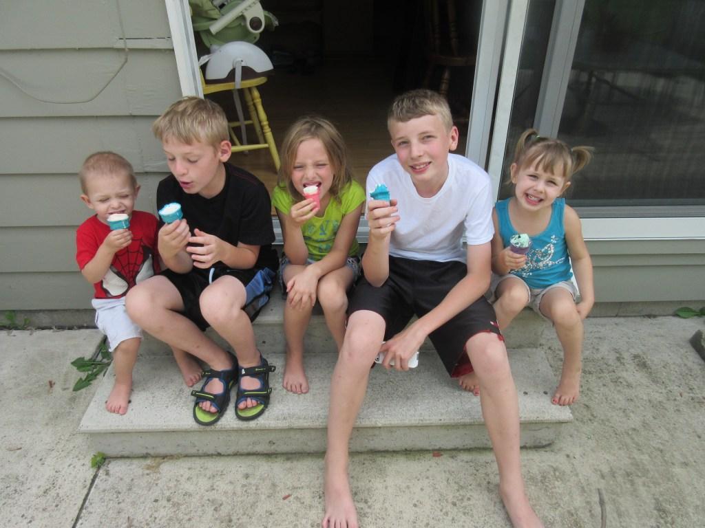Cute kids on steps