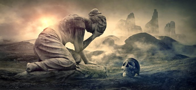 art of a woman crying, a human skull in the foreground and a destroyed city in the background