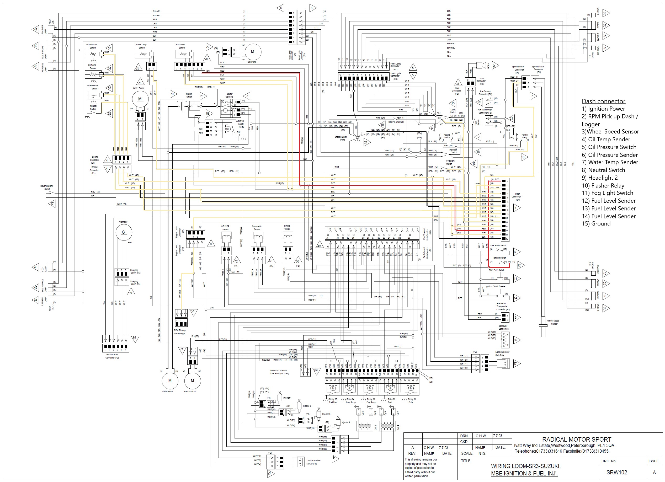 Wiring diagram of the Radical Dash Connector