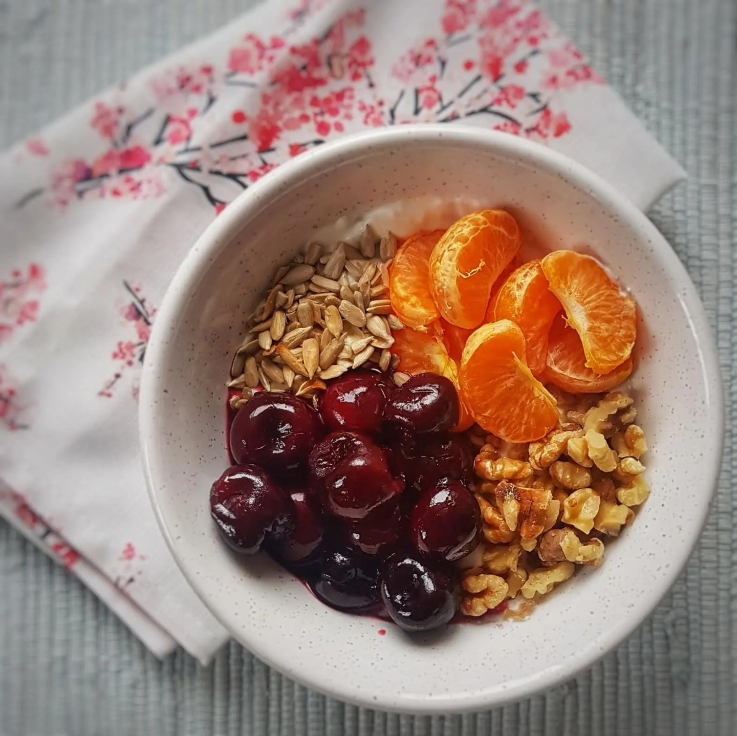 high protein oatmeal with cherries and clementines