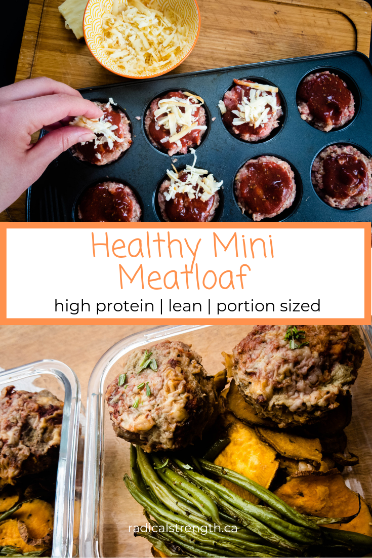 mini meatloaf in muffin tin pinterest graphic