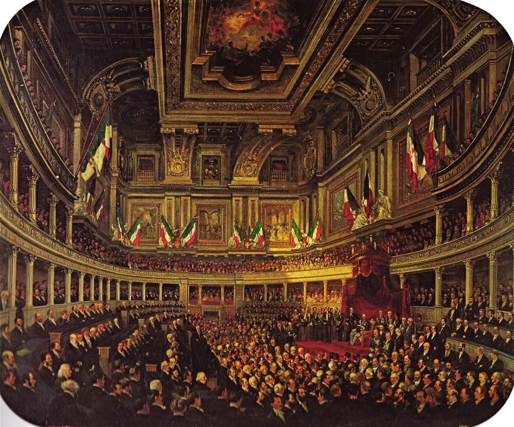 Inaugurazione del parlamento italiano, dipinto di Pietro Tetar van Elven. Immagine presa da https://venetostoria.wordpress.com/2016/04/02/fatta-litalia-bisogna-fare-gli-italiani-si-ma-a-quale-prezzo-lo-stiamo-vedendo-anche-ora/
