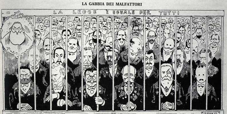 Vignetta satirica dello scandalo della Banca romana.