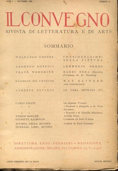 """Copertina della rivista """"Il Convegno"""", anno I, 1920"""