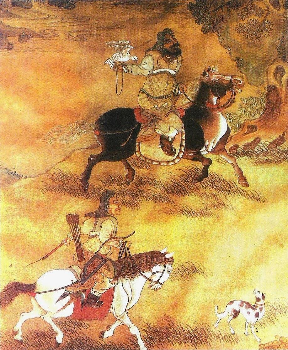 Gengis Khan a caccia col falcone assieme a un arciere (dipinto cinese del XVI secolo)