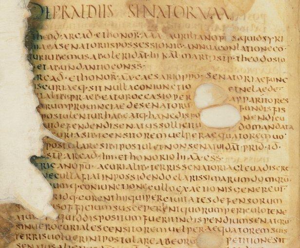 Manoscritto del VI secolo contenente alcune parti del Codice di Teodosio.