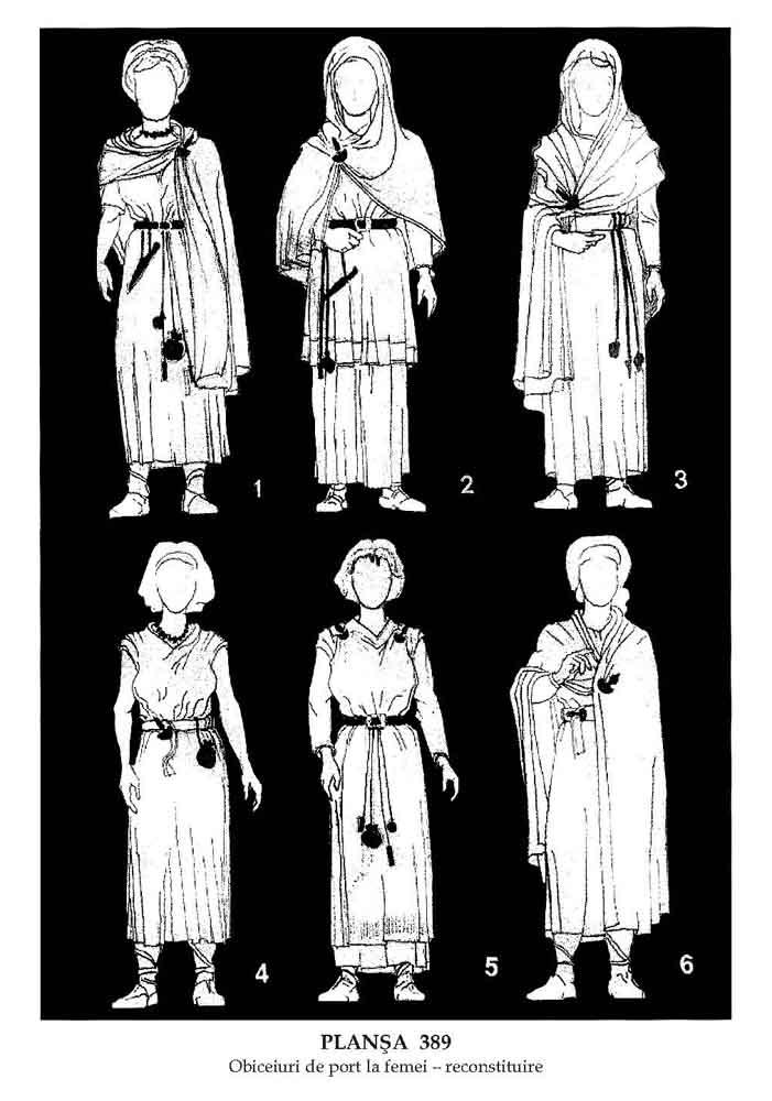 Abbigliamento femminile goto per come ricostruito dalle testimonianze tombali.