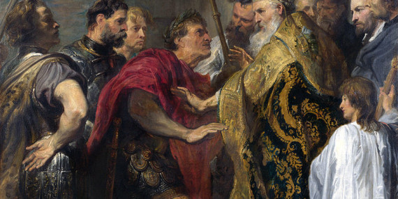 L'imperatore Teodosio a cospetto di Sant'Ambrogio, che gli impedisce di entrare nella cattedrale di Milano. Dipinto del pittore Van Dyck (1620)