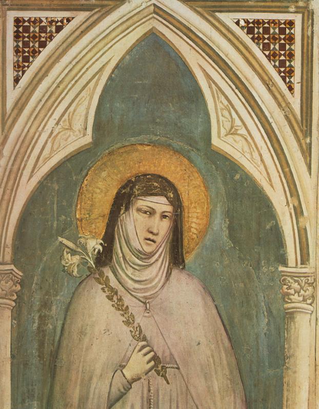 Santa Chiara affrescata da Giotto. Immagine di pubblico dominio