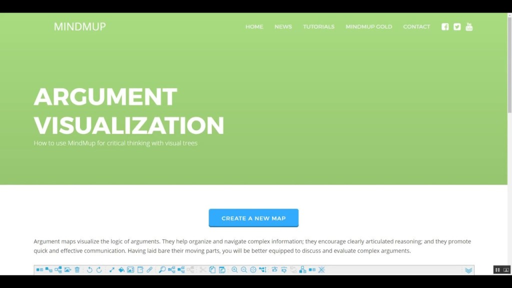 Pagina iniziale del software Mind Mup Argument Visualization.