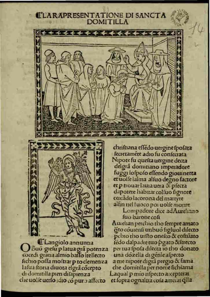 Rappresentazione di Santa Domitilla, dell'autrice e drammaturga Antonia Pulci (1452-1501)