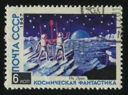 timbre 1967 colonisation Lune par la Russie
