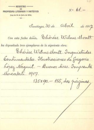 """Registro de la obra """"Inquietudes Sentimentales""""(1917) de Teresa Wilms Montt. Fuente: Propiedad Intelectual."""