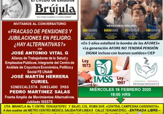 Miercoles 19Feb 19hrs Conversatorio «Fracaso de Pensiones y Jubilaciones en Peligro ¿Hay alternativas?  expertos lo explican con @brujuleando