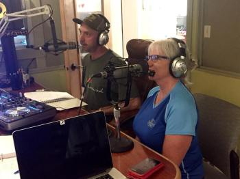 @kidyoshida and Kristen Cheney getting meta about the @kcrw Radio Race on Sonic Saturday with Wayne. #radiorace #kcrw #radioboise #communityradio #idaho #boise