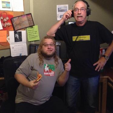 Happy Birthday, Gabe Dunn! Gabe (left) is pitching for Radiothon during Strange Brew with Patrick (right) until 8. Donate: (208) 258-2072, http://radioboise.us, 1020 W. Main St. in the basement. #KRBXFallRadiothon #radioboise #boise #idaho #communityradio