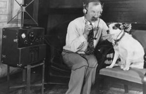 Man and Dog listen to Radio
