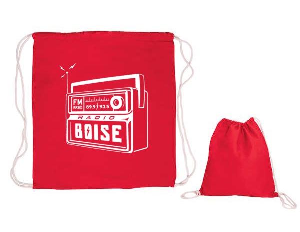 KRBX Radio Boise logo cinch drawstromg cotton bag
