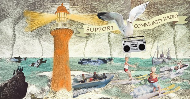 Illustration of lighthouses and seagull with radio