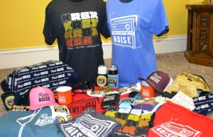 Photo of all new Radio Boise merch items