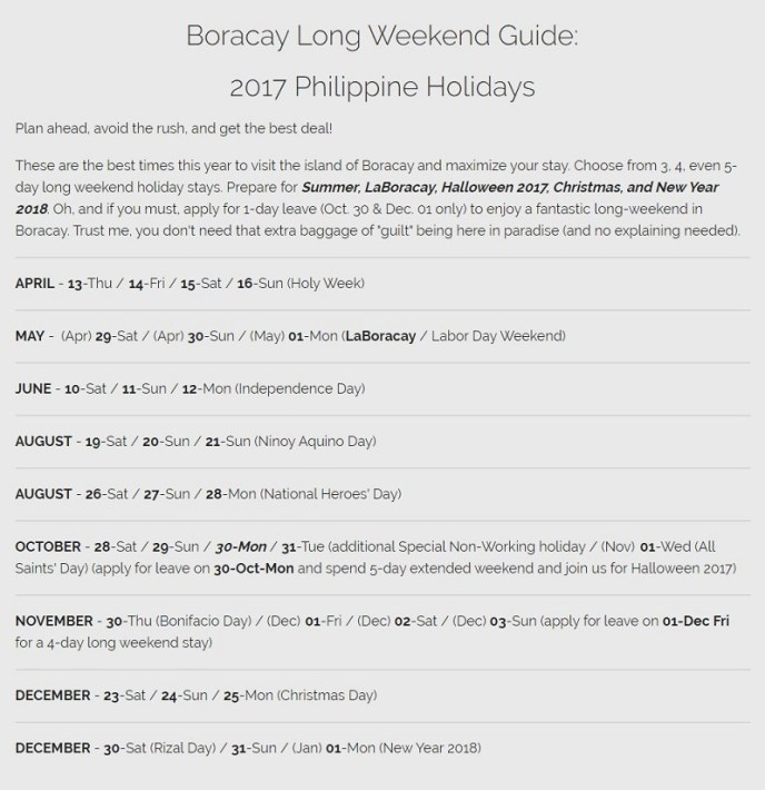 Boracay Events: 2017 Philippine Holidays Schedule