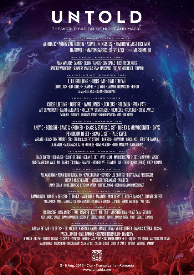 Artistii anuntati pana acum la festivalul Untold 2017