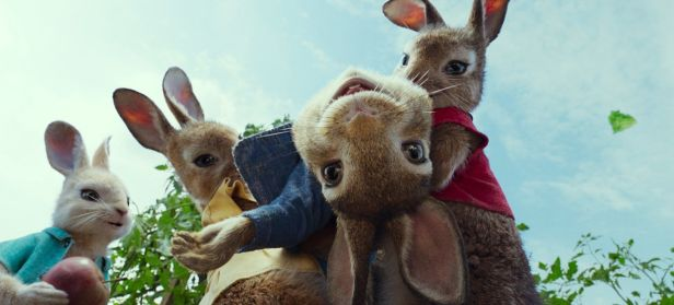 Peter Rabbit (James Corden) with Cottontail (Daisy Ridley), Mopsy (Elizabeth Debicki) and Flopsy (Margot Robbie) in Columbia Pictures' PETER RABBIT.