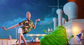 Dracula (Adam Sandler) with Blobby in Sony Pictures Animation's HOTEL TRANSYLVANIA 3: SUMMER VACATION.