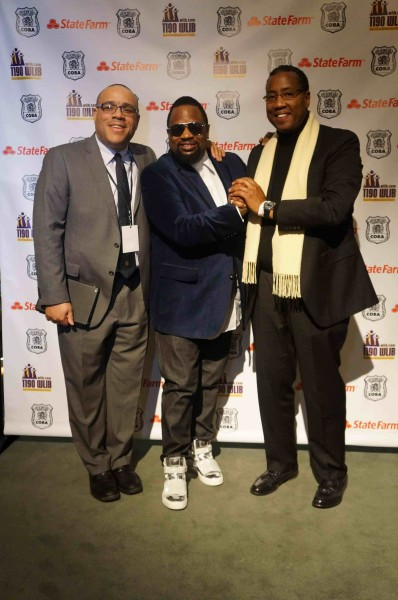 Skip Dillard (Operations Manager, Program Director for 1190 WLIB-AM and WBLS-FM, 1190 WLIB-AM Bishop Hezekiah Walker and Norman Seabrook, President of COBA and Presenting Sponsor of the Concert)