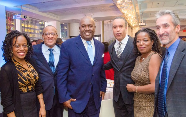 """l-r  Devyn Tyler, actress """"12 Years a Slave""""; Rev.  Gregory Jackson, Mount Olive Baptist Church, Hackensack, NJ; James Shack Harris, NFL's First African American Starting QB and  current Detroit Lions Senior Personnel ; Deneen Tyler, actress """"12 Years a Slave"""";  Samuel G. Freedman, author of BREAKING  THE LINE: The Season in Black College Football That Transformed the Sport and Changed the Course of Civil Rights"""