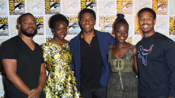 SAN DIEGO, CA - JULY 23: (L-R) Director Ryan Coogler, actors Danai Gurira, Chadwick Boseman, Lupita Nyong'o, and Michael B. Jordan attend the Marvel Studios presentation during Comic-Con International 2016 at San Diego Convention Center on July 23, 2016 in San Diego, California. (Photo by Albert L. Ortega/Getty Images)