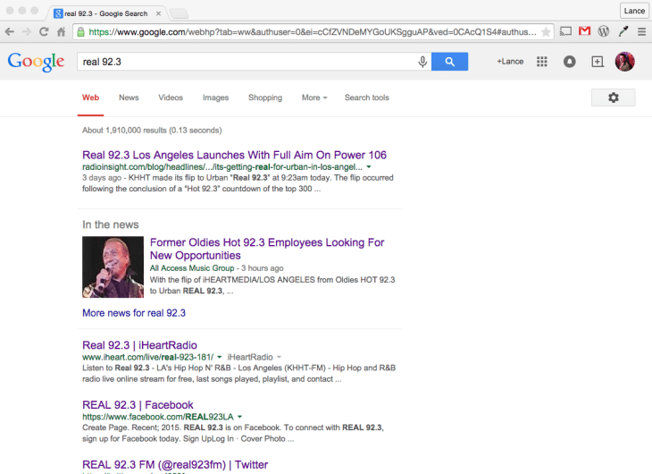 Real 92.3 Google SEO Search iHeartMedia