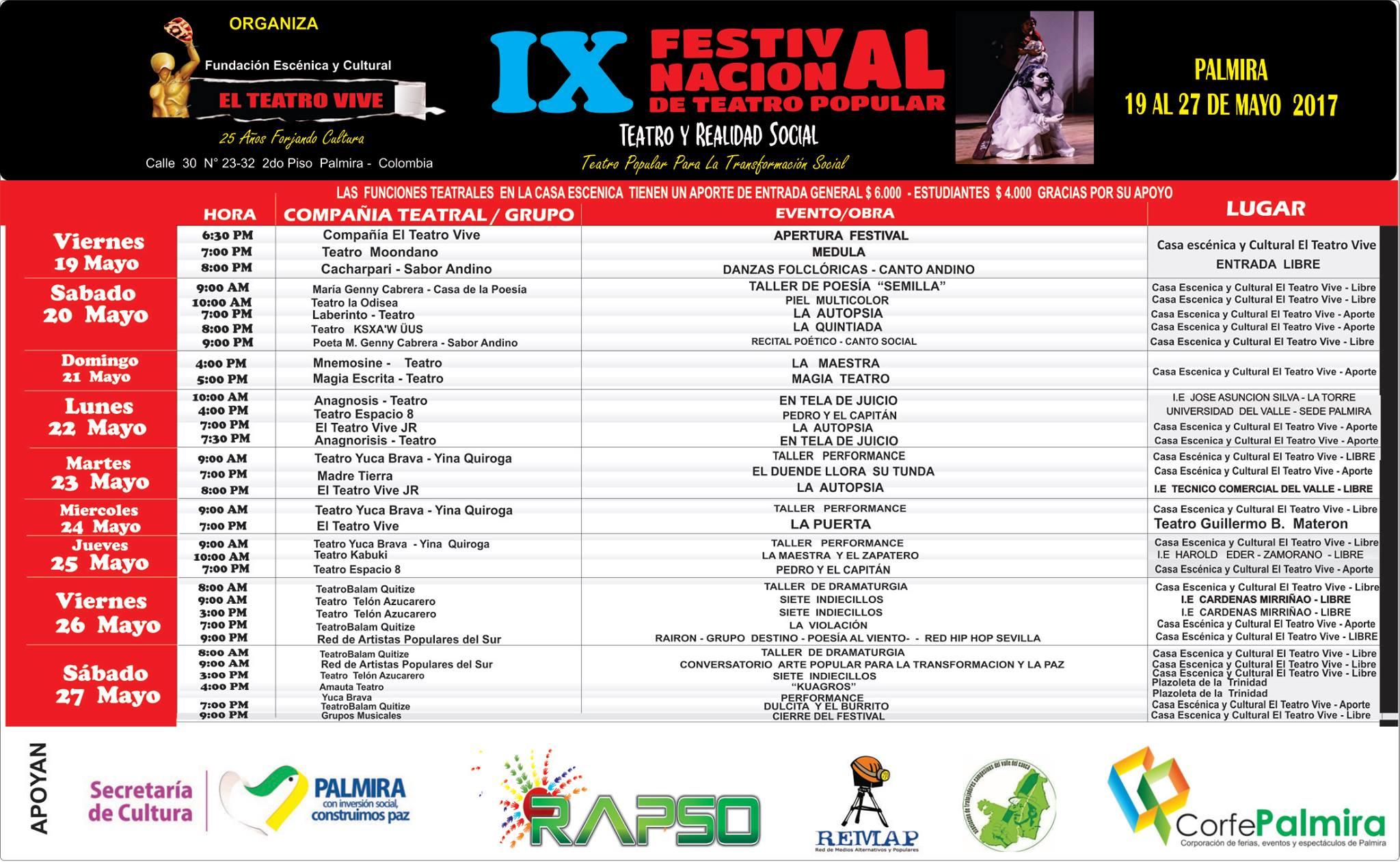 El viernes inicia Festival de Teatro Popular en Palmira - Programacion-IX-Festival-Nacional-de-Teatro-Popular