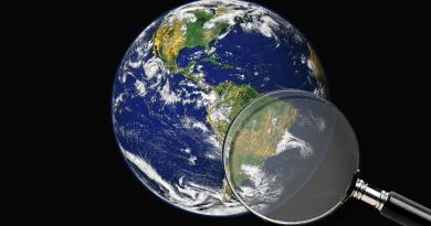 Globe terrestre avec une loupe