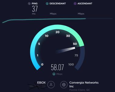 Fenêtre de Speedtest.net