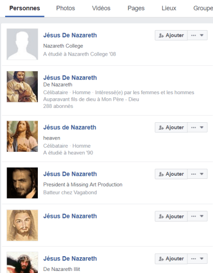 Beaucoup de Jésus de Nazareth parmi les 2 milliards d'abonnés Facebook
