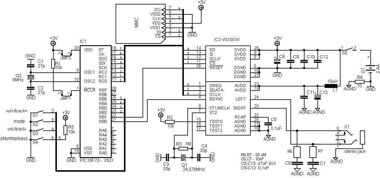 Аудиоплеер электроная схема » Электрические схемы