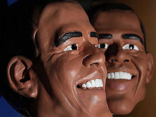 Barack Obama And George Bush Masks Are Shown At Angels Costumiers