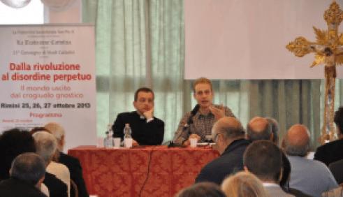 Don Mauro Tranquillo e Andrea Giacobazzi al Convegno di Studi Cattolici 2013, Rimini.