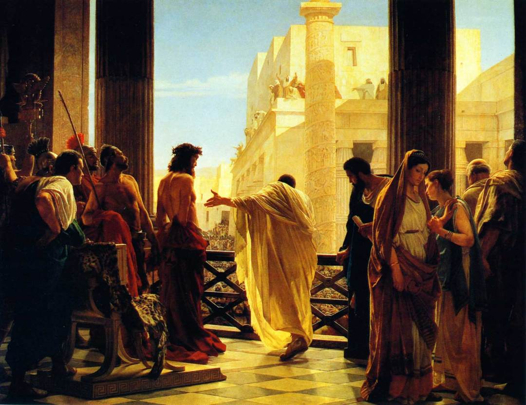 """Ecce homo"" by Antonio Ciseri: Pontius Pilate presenting a scourged Jesus to the people"